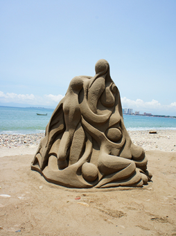 Example of a sand sculpture.