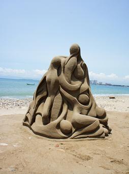 Ejemplo de escultura de arena.