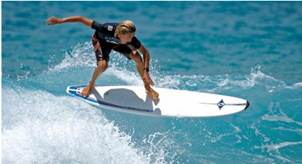 The best waves for surfing are formed by sandbars, rocky surfaces and reefs
