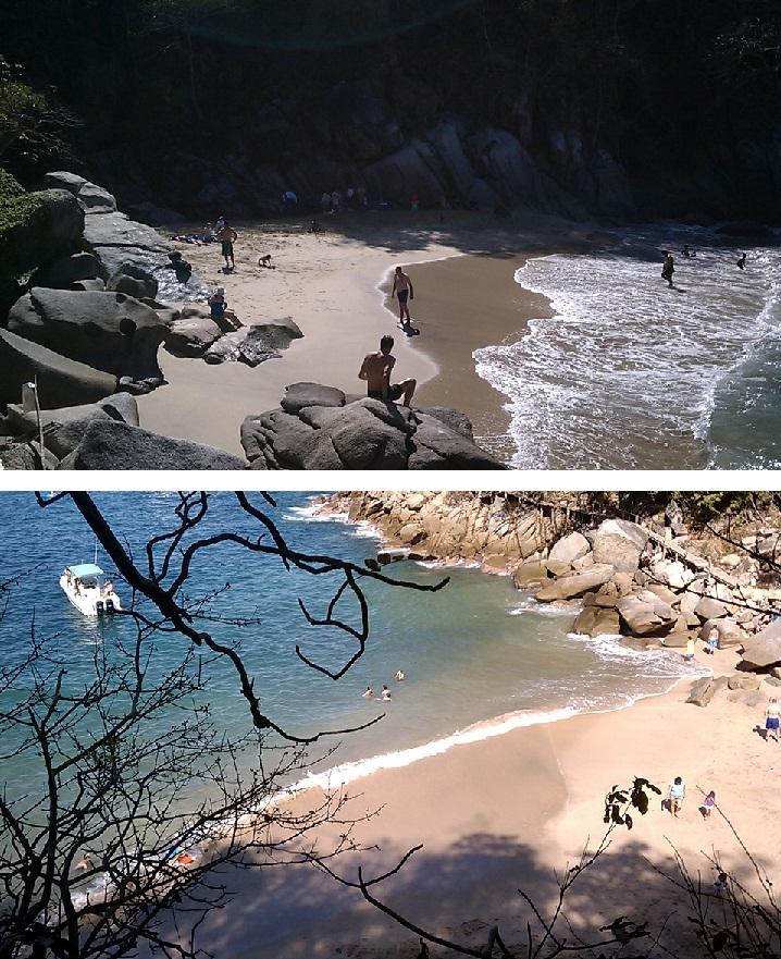 Playa Colomitos (vista al llegar y al continuar con el camino)