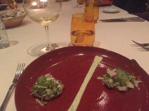 Frida and Diego's Favorites: Corn sopes with beans, sautéed zucchini, cilantro and vegan cream