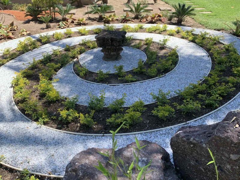 labyrinth of meditation in botanical garden of the boutique hotel Casa Velas