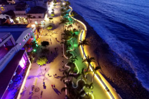 Vallartas malecon during night