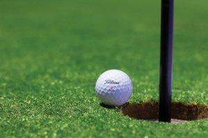 pelota de golf junto a un hoyo en el campo