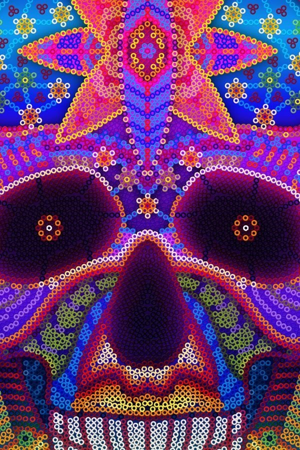 Vibrant colors in Huichol Art in Riviera Nayarit and Puerto Vallarta